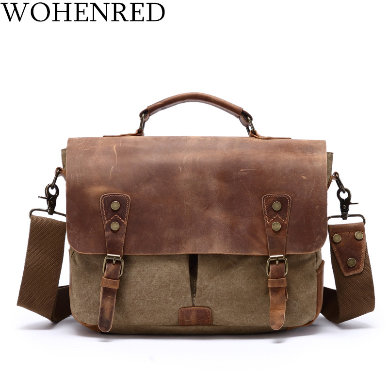 Men Briefcase Leather Canvas Laptop Bag Satchel Male Messenger Shoulder School Work Bag Vintage Casual Portable Tote Handbag retro british school women messenger bag embossed hollow out shoulder briefcase department of forestry casual satchel