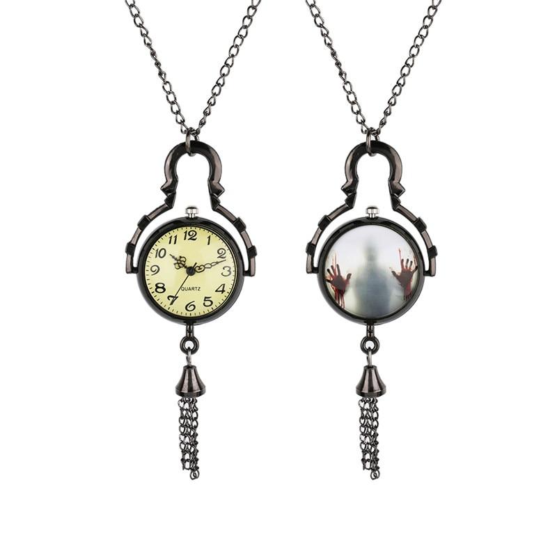 YISUYA Vintage Walking Dead Glass Ball Shape Quartz Pocket Watch Necklace Steampunk Men Women  Fob Watch Chain Xmas Gifts