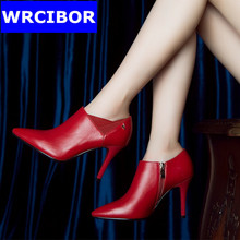 women's dress shoes fashion women pumps thin heels pointed toe Red bottom high heels Wedding shoes 2017 Lady leather shoes women