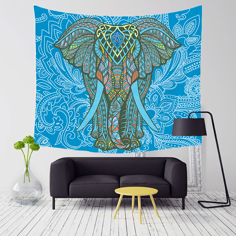 Comwarm Indian Elephant Series Aubusson Colored Mandala Printed Tapestry Boho Wall Hanging Gobelin Rug Livingroom Home Decor Art image