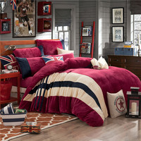 Flannel Fleece Twin Queen King Size Winter Bedding Sets Soft Warm Bedclothes Brown Black Grey Stripe