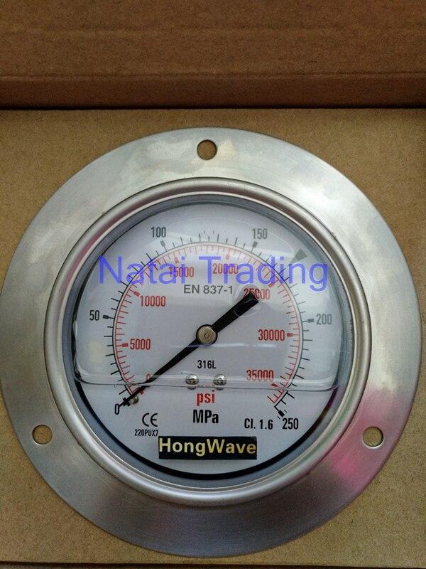 Цена за Бесплатная Доставка! заполнение силиконовое масло 250Mpa Манометр Высокого Давления 2500bar высокое давление метр
