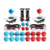 Arcade Game DIY Parts, USB MAME Cabinet DIY Parts, MAME DIY (2 USB Encoder + 2 Joystick + 20 Push Button) Color Blue +Red Kits