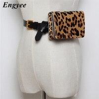 Engyee Fashion Women Waist Bag Female Fanny Pack Phone Pouch Bags Genuine Leather Hip Belt Bag Lady Leopard Real Fur Waist Pack