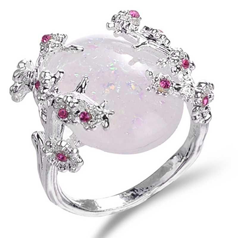 Красивое дерево и цветок кольцо ювелирные изделия черное золото заполненные романтические CZ Большой Белый огненный опал кольцо Женщины дропшиппинг полосы палец кольцо