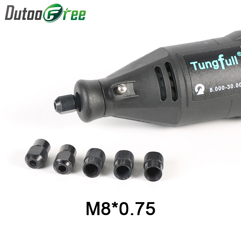 Dutoofree Mini Drill Chuck Dremel Accessories For Dremel Rotary Tools Power Tool Accessories 5PCS Zinc Alloy Nuts M8X0.75mm