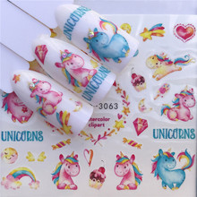 1 Sheet Cartoon Horse & Blue Flower/Triangle Summer Image Nail Decals Art Colorful Full Wraps for Nail Sticker Water Tips(China)
