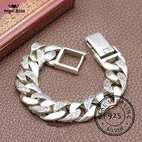 Завод Тотем Подлинная 925 серебряные браслеты панк рок Винтаж тяжелый серебро браслеты Будды для мужчин роскошный мужской Байкер ювелирные
