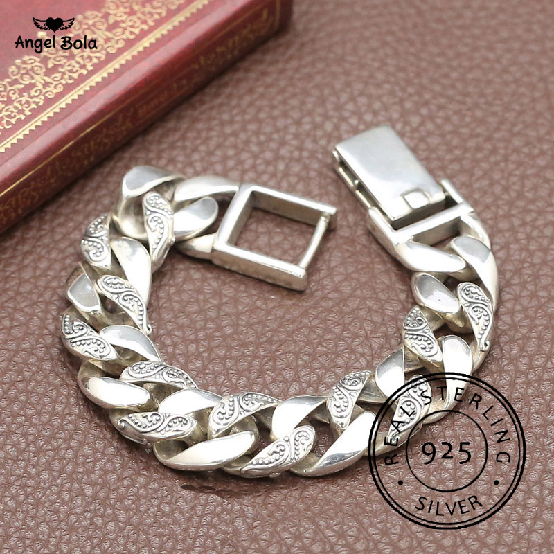 Plante Totem véritable 925 argent Bracelets Punk Rock Vintage lourd en argent Sterling Bracelet bouddha hommes de luxe mâle motard bijoux