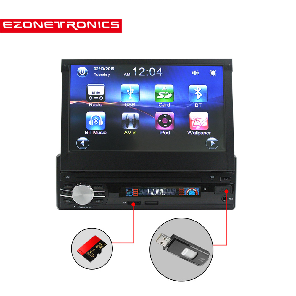 Free Ship Car Radio Stereo Universal 7 inch slip down Touch Screen 1DIN FM AM with