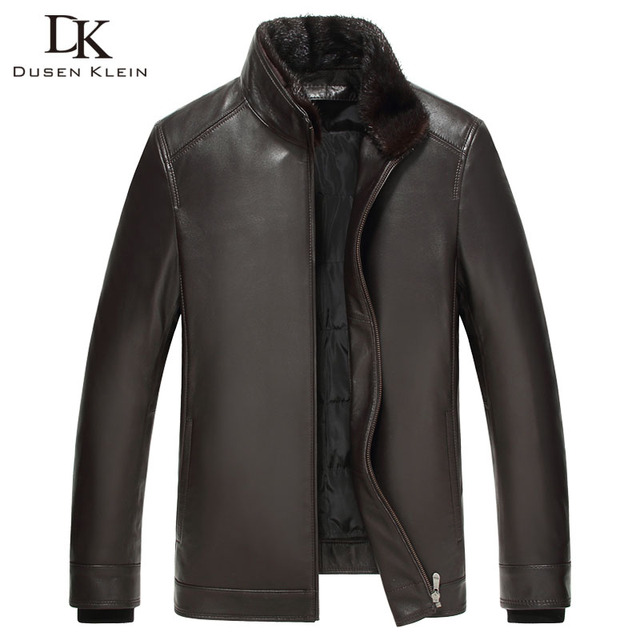 Dusen Klein 2017 New Luxury mens leather jacket Nature sheepskin Duck down liner Detachable Mink fur collar coats 61Z17003