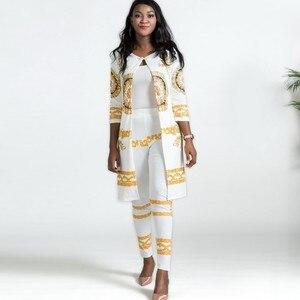 Image 1 - 2019 New African Print Elastic Bazin Baggy Pants Rock Style Dashiki SLeeve Famous Suit For Lady/women coat and leggings 2pcs/se