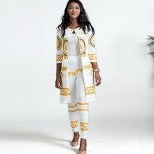 2019 novo africano imprimir elástico bazin baggy calças estilo rock dashiki manga famoso terno para senhora/mulher casaco e leggings 2 pçs/se