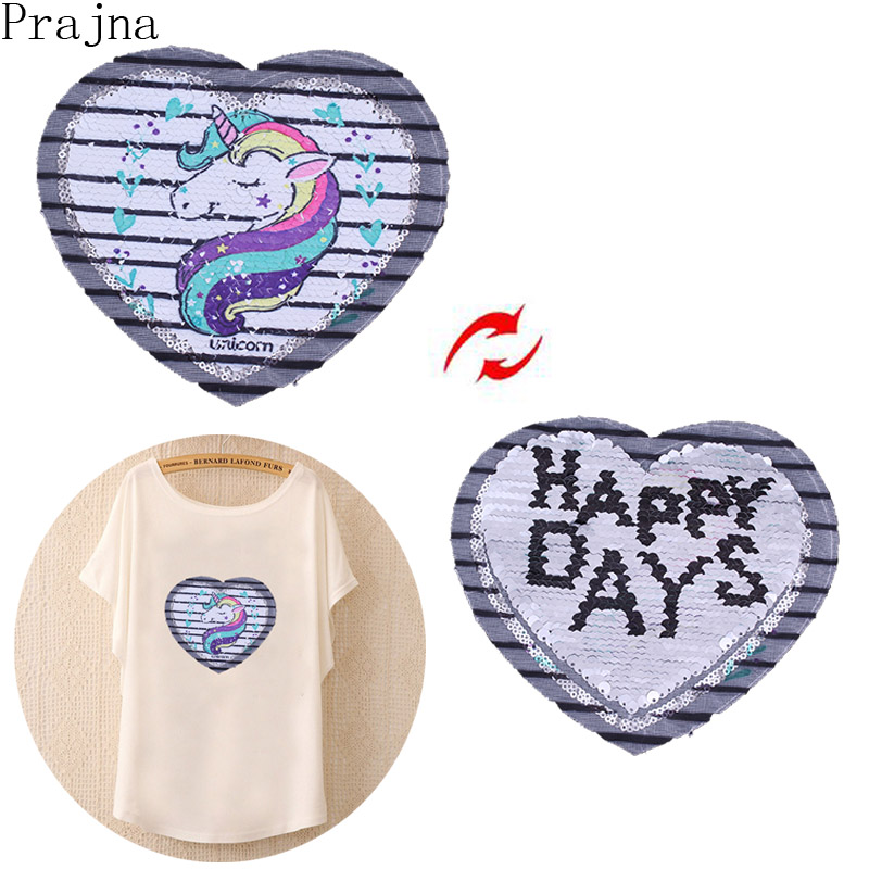 Prajna Rainbow Unicorn Sequin Sewing Patch Horse Change Color Kids Reversible Patch Iron On Embroidered Patches For Clothes