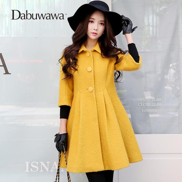 Dabuwawa Yellow 2017 Winter Coat Women Russia Coats Warm Cashmere Coat And Jackets Manteau Femme Hiver
