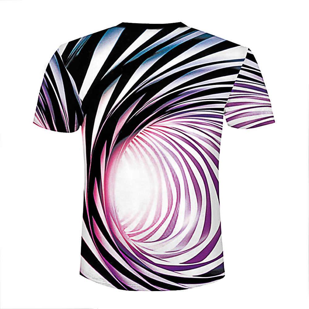 Черно-белая футболка с гипнотическим принтом Vertigo Unisxe Забавные футболки с короткими рукавами мужские/wo мужские топы Мужские 3D футболки 2018
