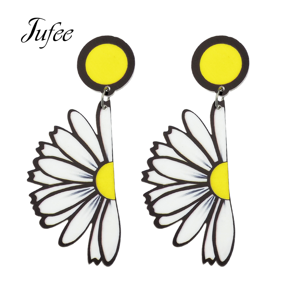 2017 New Jewelry Big Earrings Yellow White Small Daisy Dangle Earrings For  Women Fashion Accessories(