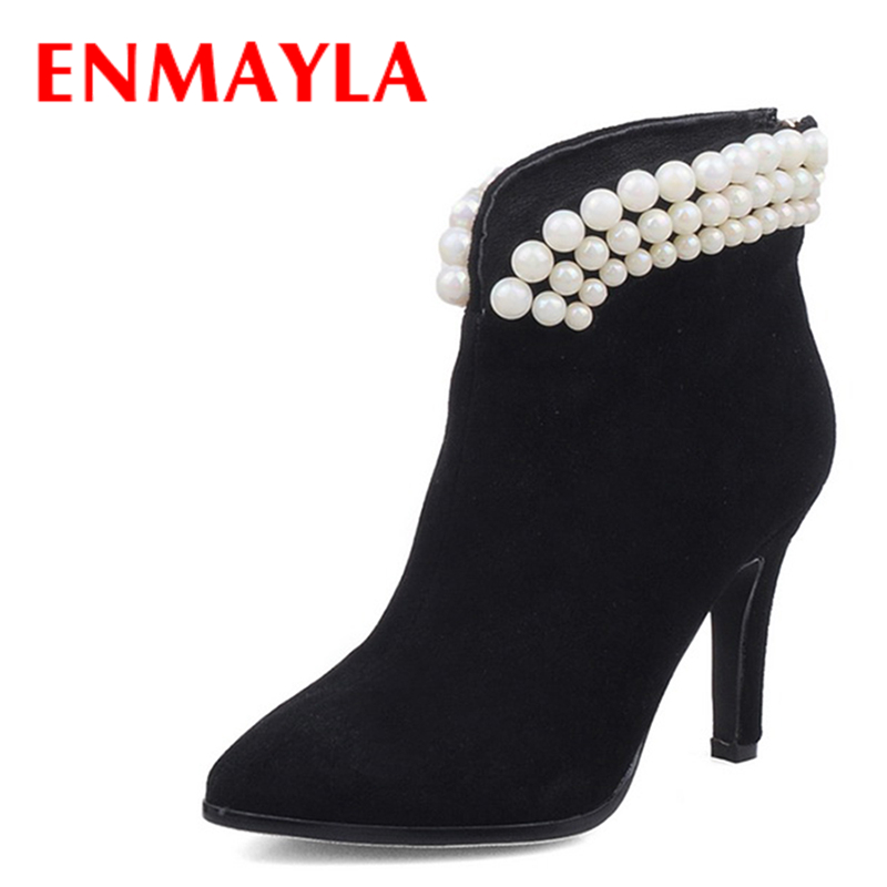 ENMAYLA Autumn Sheepskin Pearl Bead Ankle Boots for Women Pointed Toe Wedding Ladies Shoes Woman Black Red Suede Boots enmayla new women slip on chelsea boots suede black crystal ladies ankle boots for women round toe med heels shoes woman