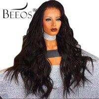 BEEOS 250% Brasilianische Spitze-front-menschenhaar-perücken Pre Gezupft Haaransatz langen Körper Welle Frauen Perücken Remy Haar Durchschnittlichen Kappe 22