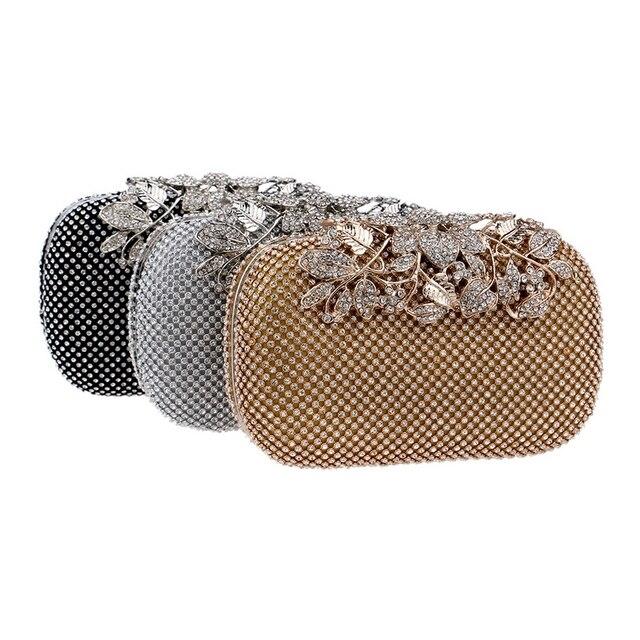 SEKUSA Flower Crystal Evening Bag Clutch Bags Clutches Wedding Purse Rhinestones Wedding Handbags Silver/Gold/Black Evening Bag 3