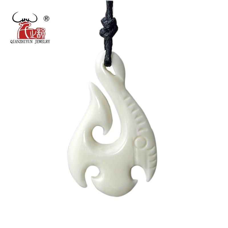 1pcs Faux Yak Bone Resin Maori//Hawaii Fish Hook Pendant Necklace