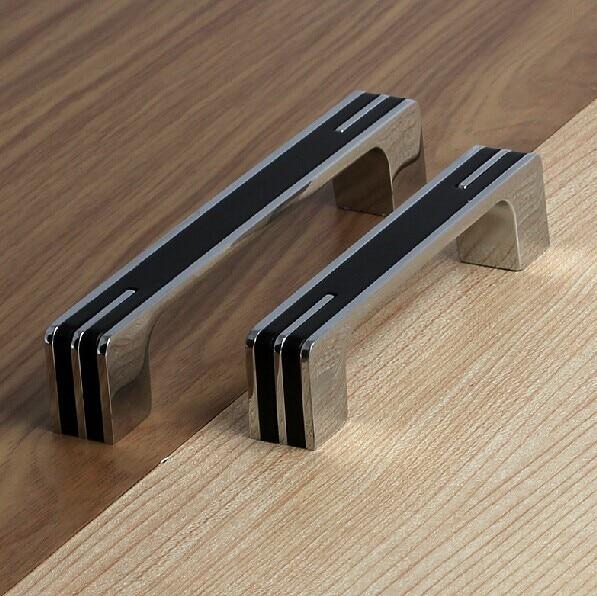 128mm Modern Fashion Furniture Decoration Handles Black Kitchen Cabinet 5 Silver Chrome Dresser Cupboard