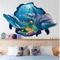 ZOOYOO Fish Dolphin 3d Vivid Window Wall Stickers DIY Wall Decals Bathroom Living Room Bedroom Bathroom