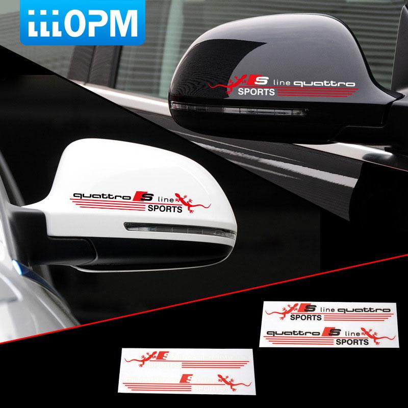 2pcs/Set 3D Gecko S line Quattro SPORTS Car-Stickers Vinyl Decal Auto Car Cover Rearview Mirror Decoration Glue Sticker for Audi