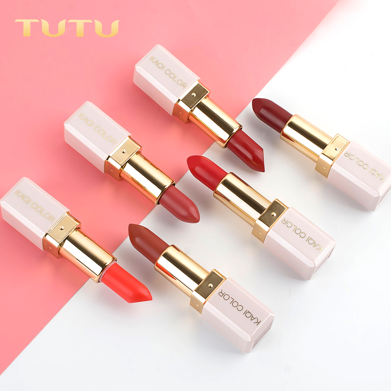 TUTU Matte Lipstick For Red Lips 6 Colors Long Lasting Lipsticks Korean Cosmetic Lips Makeup Brand 2018 Nude glitter Lip Stick