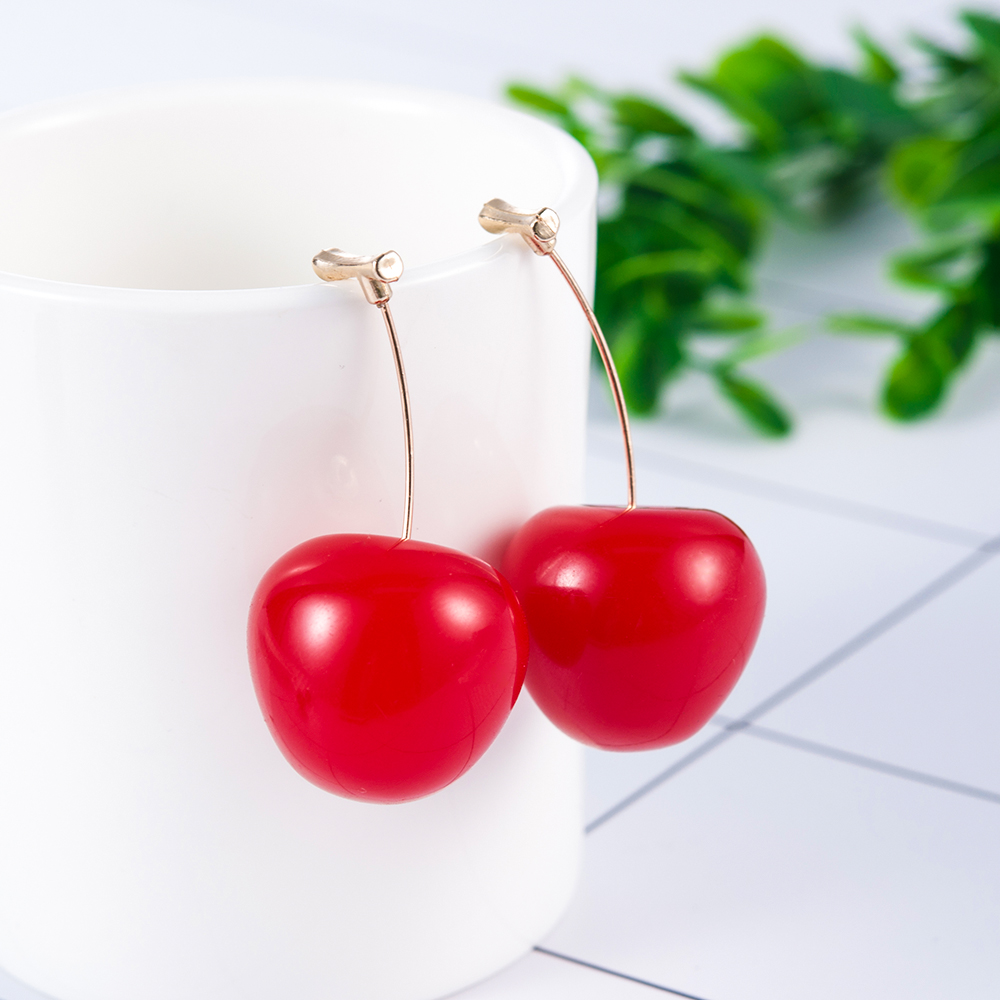 HTB184SQShTpK1RjSZFMq6zG VXaW - New Fashion 2019 Earrings Women Girls Resin Cute Round Dangle Red Cherry Fruit Earrings Jewelry Gift