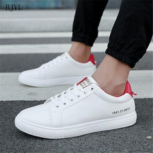 BJYL 2019 Mens Casual Shoes Classic Fashion Male Lace up Flats Black White Red Green Men Flat Heel Comfort Sneakers B154