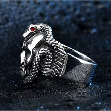 4ee128aeaa863 Steel warrior exaggerated zircon serpent skull ring - 2018 retro style  stainless steel Vintage snake ring with red stone for man