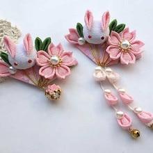 Японская и ветровая Шпилька, головной убор с кроликом, kimonos hanfu, заслуживающая играть роль цветов, Дана колокольчиков, аксессуары для волос