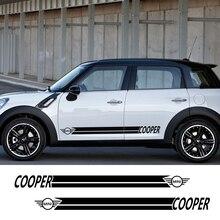 Для MINI Cooper S One JCW R50 R53 R55 R56 R57 R58 R60 F55 F56 F57 F60 боковая юбка полосы наклейки на тело автомобильные аксессуары
