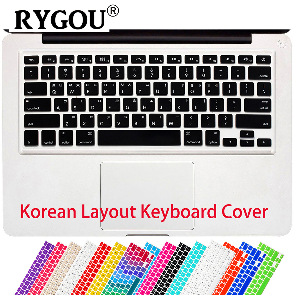 RYGOU Koreaanse Letters Keyboard Cover Macbook Air 13 Pro 13 15 17 Keypad Beschermende Film voor iMac Magic Keyboard US Layout
