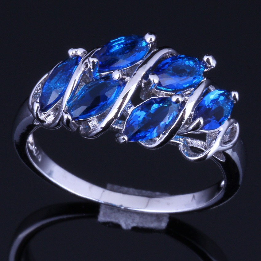 Enjoyable Blue Cubic Zirconia 925 Sterling Silver Ring For Women V0127
