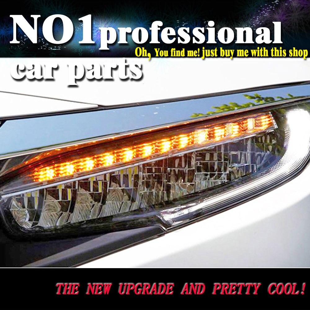 Car Head Lamp 2016 2017 for Honda CIVIC X 10th Headlight LED Headlight Red ANGEL EYE DRL Bi-Xenon Lens dynamic turn signal 2pcs purple blue red green led demon eyes for bixenon projector lens hella5 q5 2 5inch and 3 0inch headlight angel devil demon