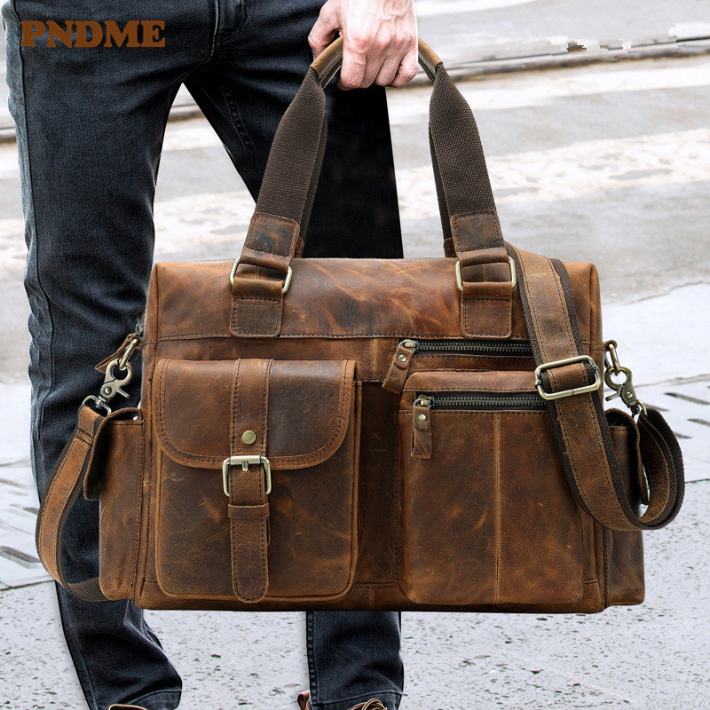 Pndme High Quality Vintage Crazy Horse Cowhide Briefcase Large Capacity Genuine Leather Men's Laptop Bag Handbags Work Bags