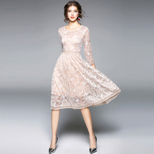 LHQ dresses in women fashion Bodycon Lace Embroidery Dress Three Quarter Sleeve Party Fashion High-end A-shaped Dresses