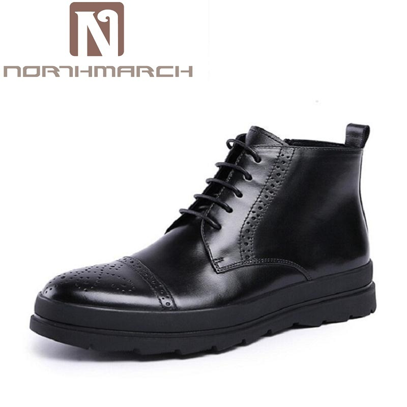 NORTHMARCH New Fashion Lace-Up Martin Boots High Quality Genuine Leather Men Ankle Boots Vintage Casual Shoes botas masculina high quality genuine leather men shoes men s lace up breathable casual shoes vintage fashion men leather shoes plus size 37 47