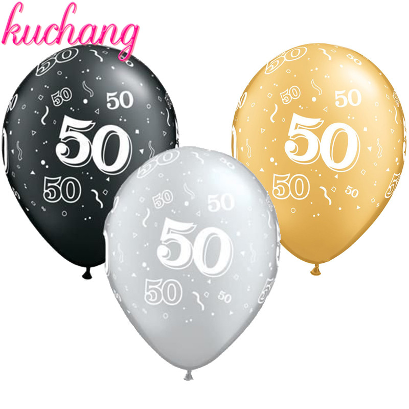 10pcs 12inch Gold Silver Black Latex Balloons 50 Years Happy Birthday Party Decorations Adult Helium Balloon 50th Dec