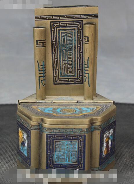 Китайский из перегородчатой эмали, бронзовая, древний символ, ювелирный ящик, шкатулка, ваза