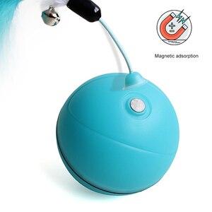 Image 2 - Para Mascotas juguetes para gatos y perros recargable LED de desplazamiento Bolas brillantes con pluma de sonido de campana bolas de silicona ágil formación al gato de juguete