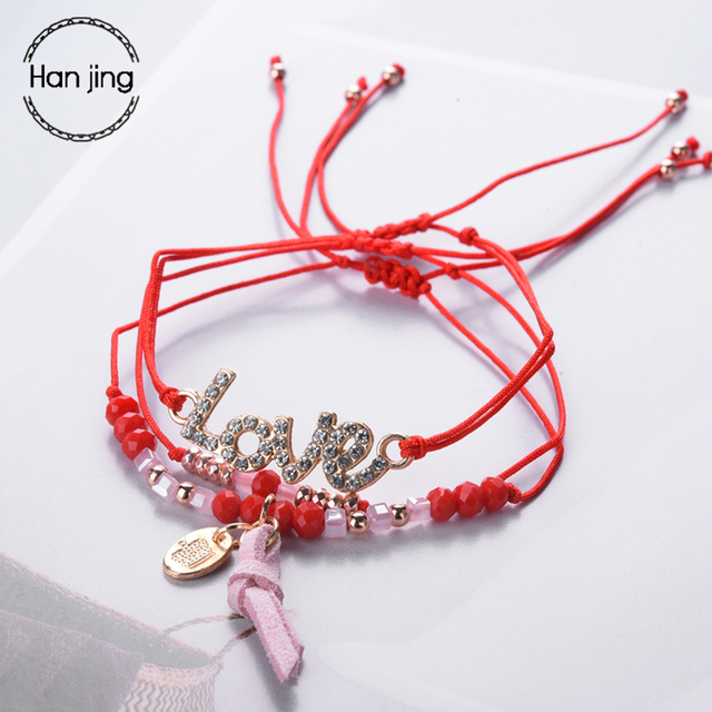 Designer Red Thread Rope Charm Bracelets For Women Fashion Friendship Crystal Letter Bracelet With Love Jewelry Wedding Gifts
