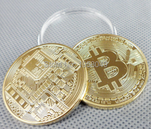 New hot sale 1OZ Bitcoin Currency Wholesale 1pcs /lot Free Shipping .999 Gold Clad Computer Chip CIRCUITRY BTC Round Coins
