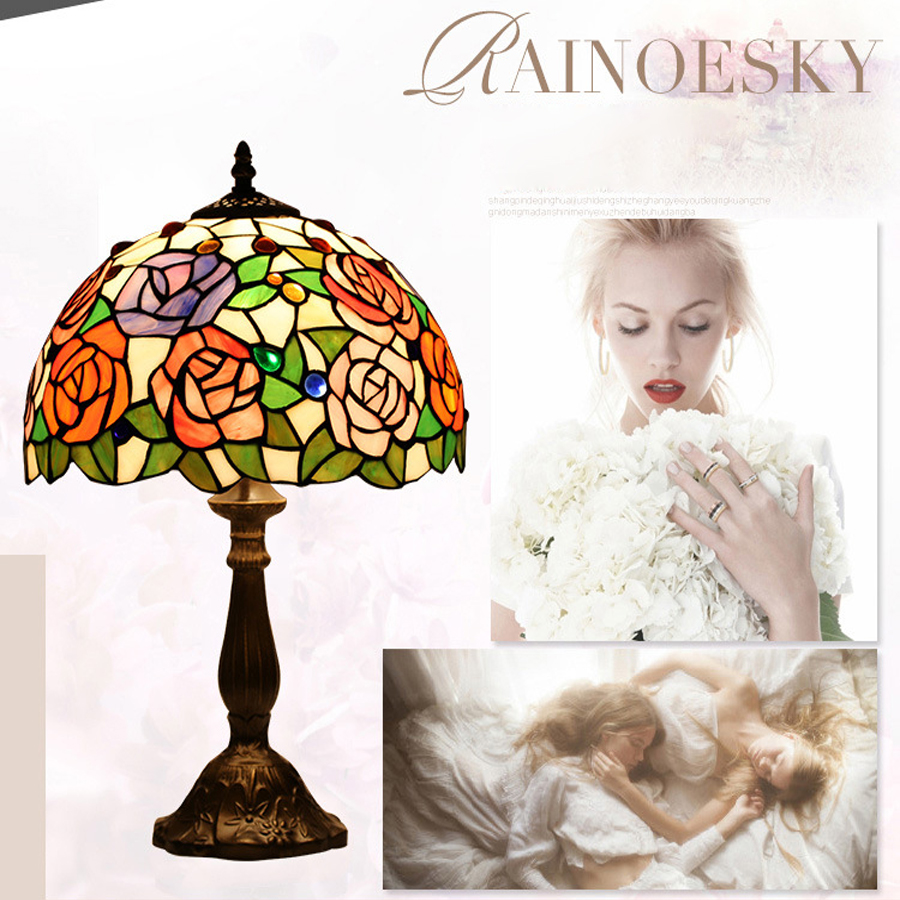 New Tiffany Rose Reading Table Lamp Bedroom Study Room Living Room Villa Hotel Desk Lamp LED E27 lamp