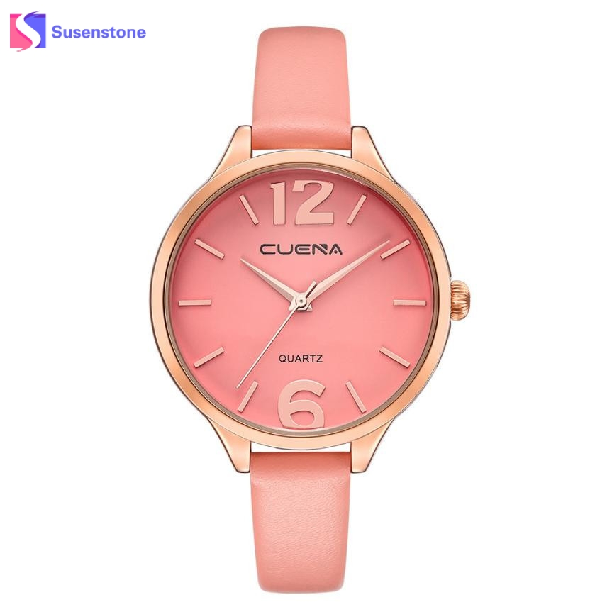 2017 Fashion Women Watch Big Alloy Dial Faux Leather Band Quartz Analog Wrist Watch Luxury Ladies Female Leisure Dress Watches  new watch women hollow out alloy dial clcok faux leather analog quartz watch roman numerals ladies casual wrist watches women