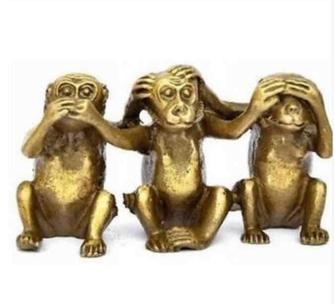 Patung Tembaga Three Wise Monyet Mendengar Lihat Speak No Evil 3 Monkey