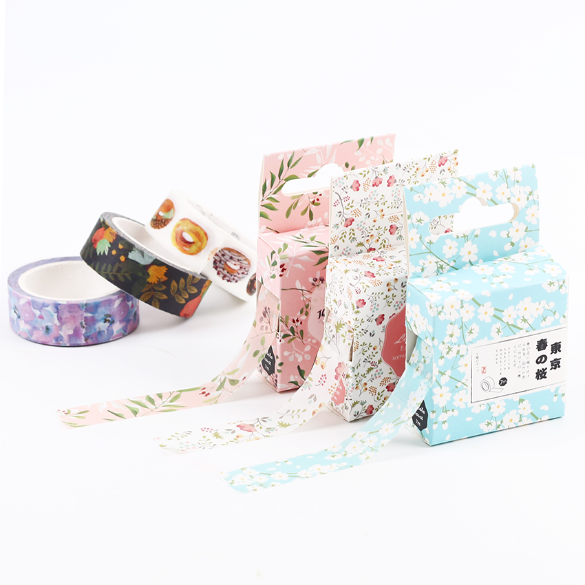 Cute Kawaii Flower Food Decorative Paper Washi Tape DIY Scrapbooking Masking Tape School Office Supply 15mm X 7m
