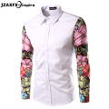 chemise homme New Arrival Men Printed Flower Shirt Long Sleeve Patch work Design Shirt camisa masculina Men Causal Shirt